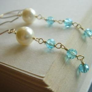 Bridesmaid Blue Crystal and Pearl 1..