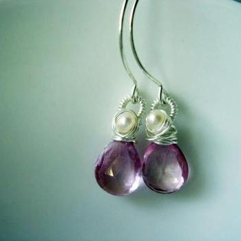 SweetHeart Pink Topaz and Freshwater Pearl Sterling Silver Earrings