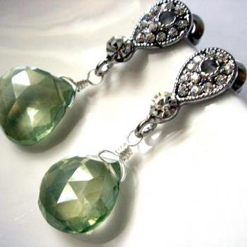 Peridot Green Vesuvianite Bridal Earrings