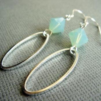 Mint Swarovski Crystal Beach Theme Wedding Earrings